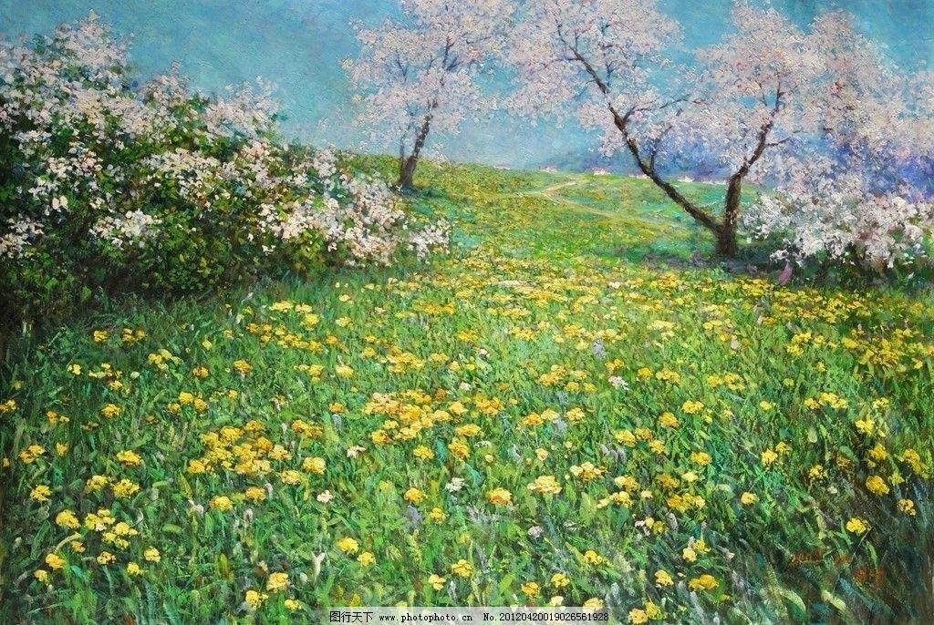 风景 天空 草坪 野花 油画 装饰品 素材      绘画书法 文化艺术 设计