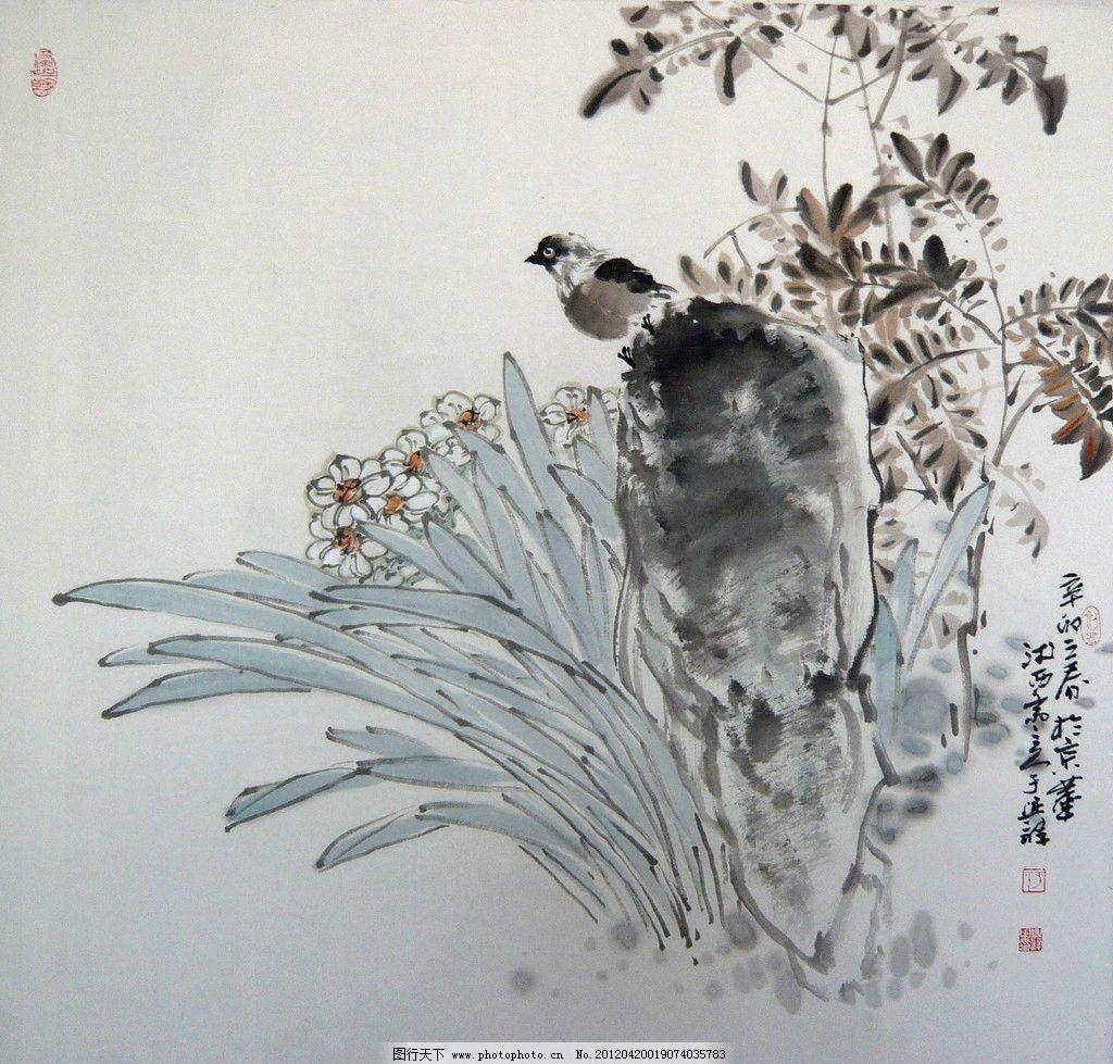 写意画 彩墨国画 彩墨花鸟国画 书法 大师作品 风景画 写意 小鸟 动物