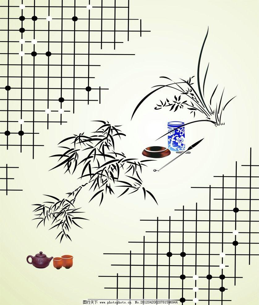 古典移门 棋 茶 移门 竹子 兰花 移门图案 底纹边框 设计 80dpi jpg