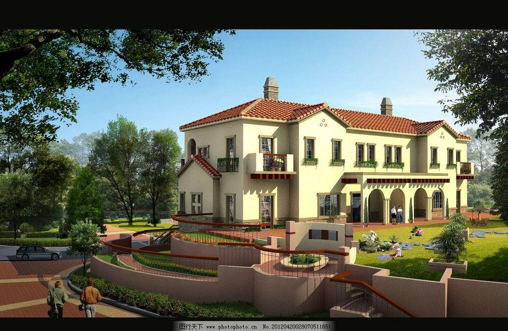 建筑效果图 别墅图 小区效果图 室外效果图 建筑表现 建筑设计 环境