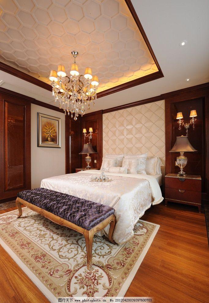 精装样板房卧室 吊灯 实景 台灯 床头柜 欧式 现代 家具 木地板