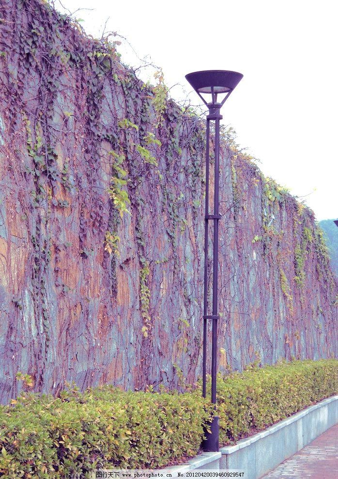 路灯 围墙 唯美 风景 建筑摄影 建筑园林