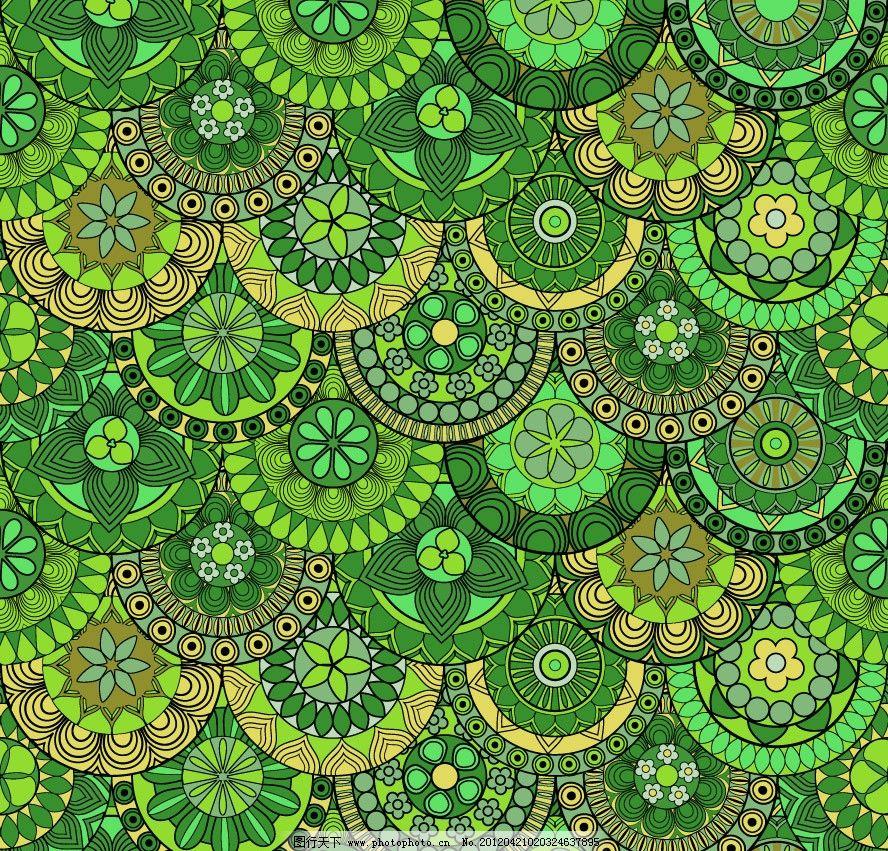 绿色欧式花纹 无缝古典花纹底纹图片