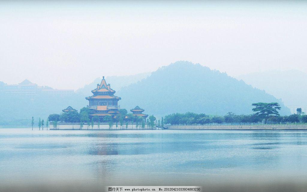顺峰山 顺德景点 湖景 山水 古庙 摄影 景色 高清 平衡 夜景
