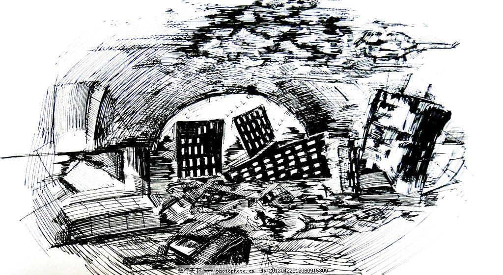 世界末日 废墟 灾难 线条 绘画书法 文化艺术 设计 72dpi jpg