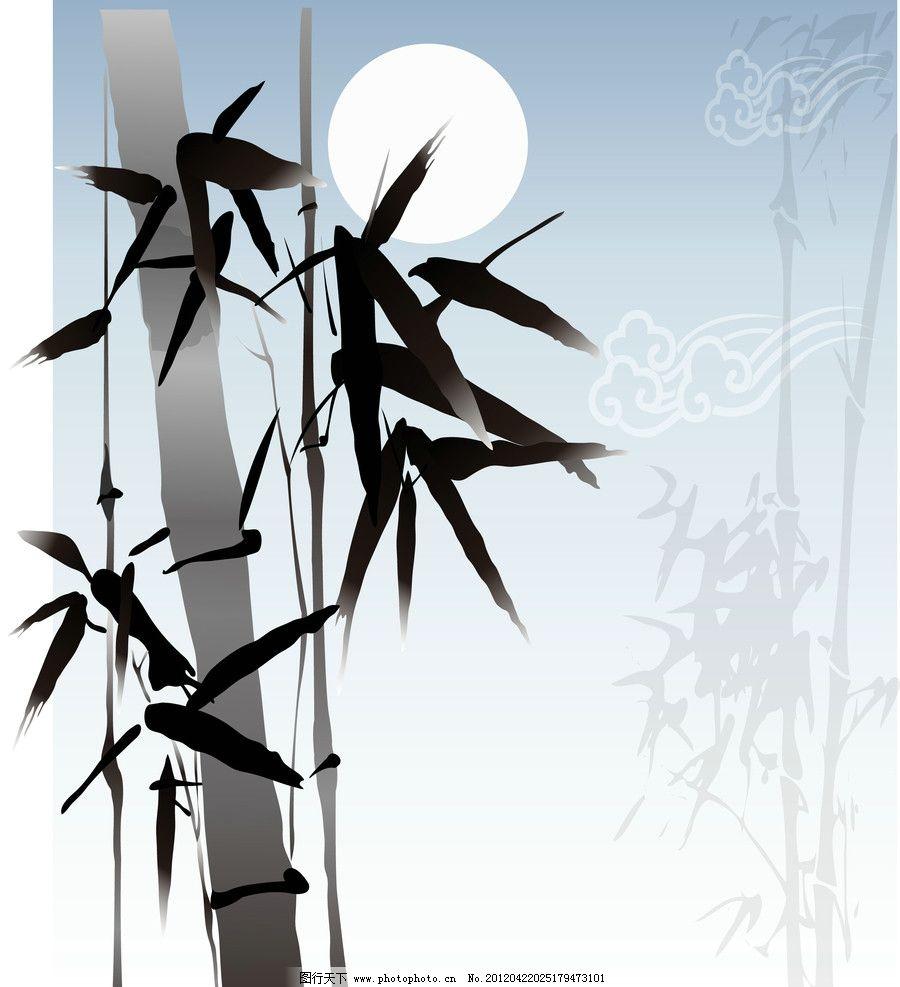 中国画竹子矢量图图片