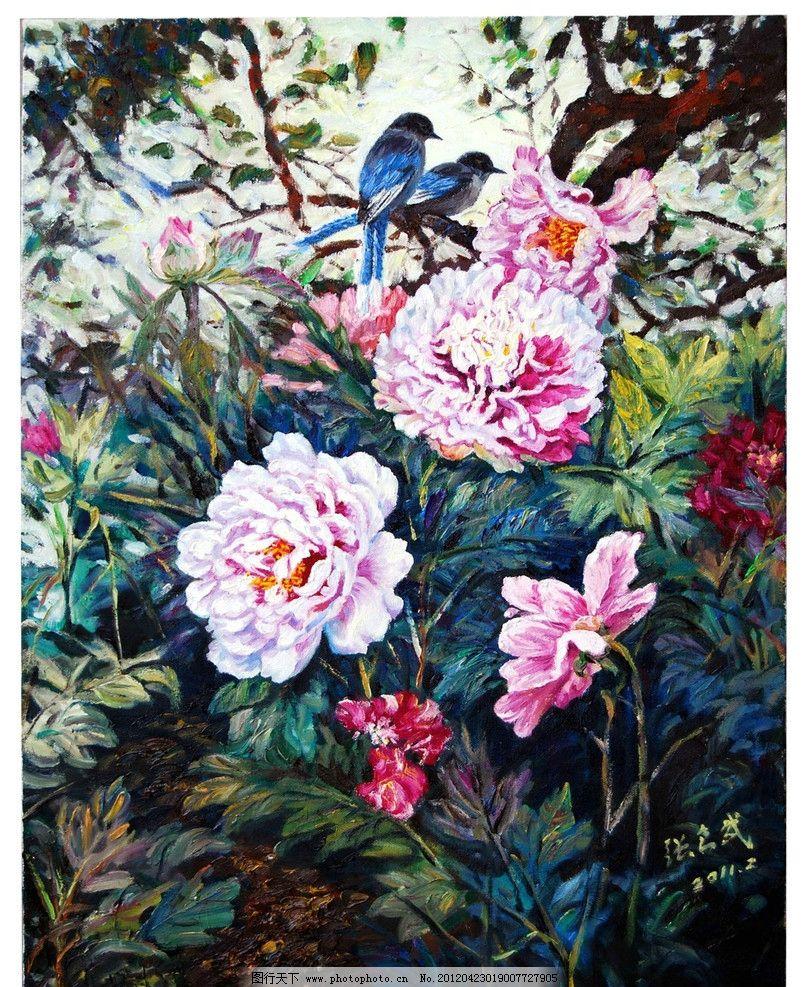 挂画 名画 世界名画 西方油画 鲜花 树木 植物 牡丹 牡丹花 小鸟 动物