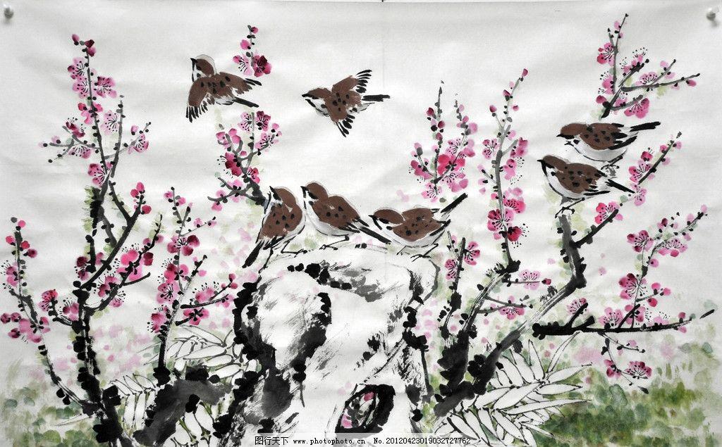 春日融融 国画花鸟 麻雀 梅花 春天 绘画书法 文化艺术 设计 300dpi