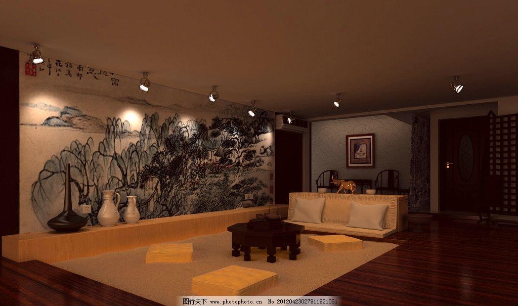 展厅 壁画 书画展厅 射灯 茶几 室内设计 室内效果图        环境设计图片