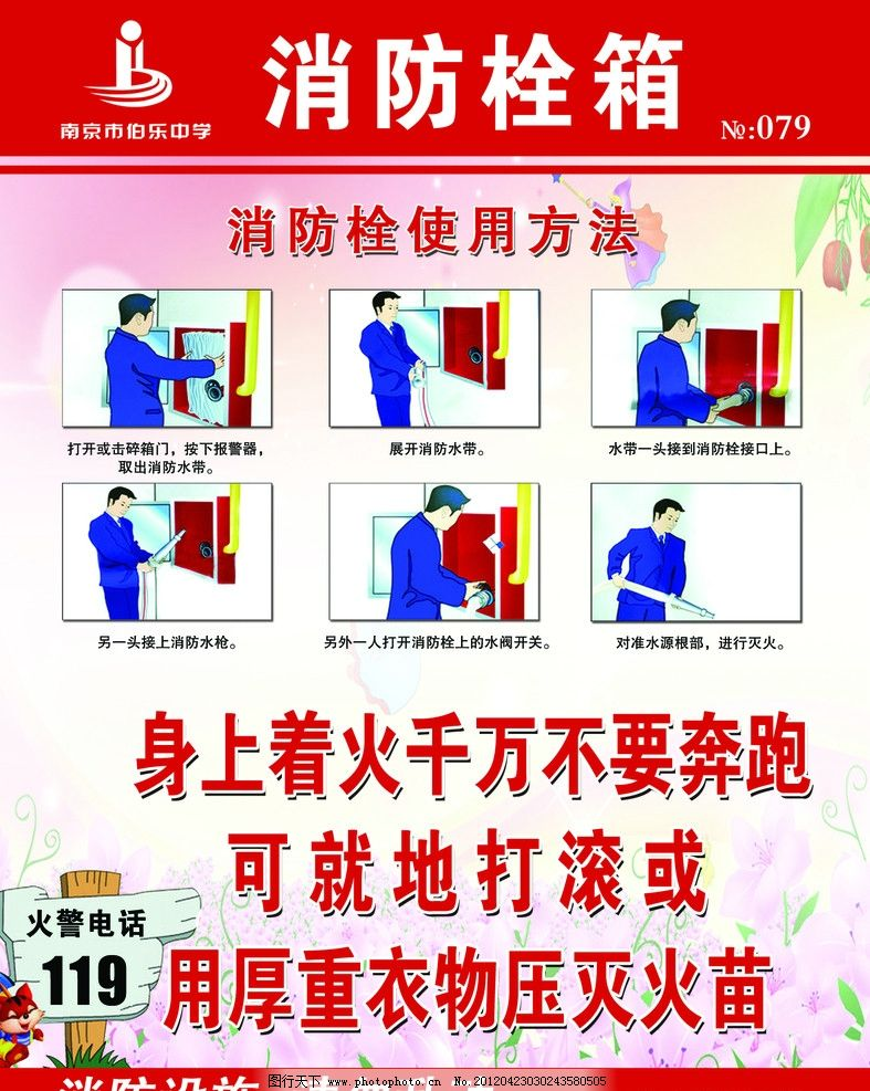 消防栓展板 消防栓使用步骤 消防栓使用常识 消防安全知识宣传 背景
