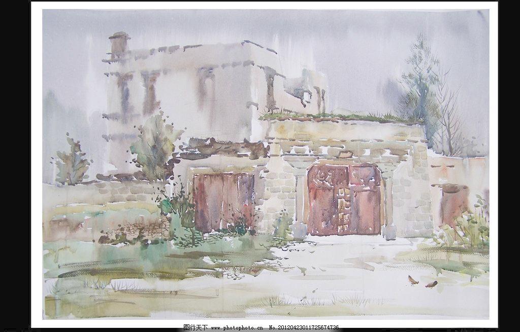 水彩风景 房子 风景画 高考 绘画 绘画书法 景色 木屋 水彩风景设计