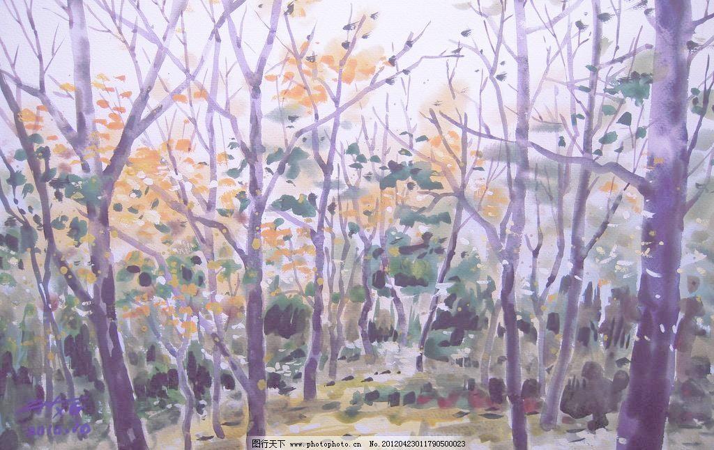 挂画 名画 世界名画 西方水彩 东方水彩 风景画 风景 景色 树木 植物