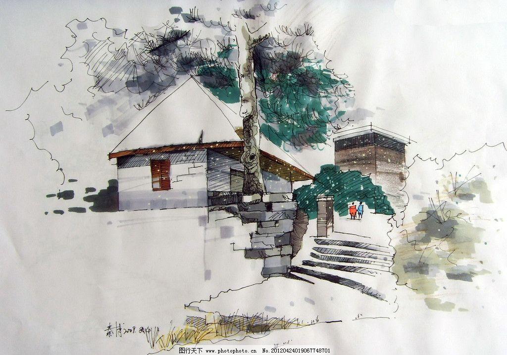 人文景觀 馬克筆效果圖 麥克筆效果圖 樹木 植物 建筑 房子 繪畫書法