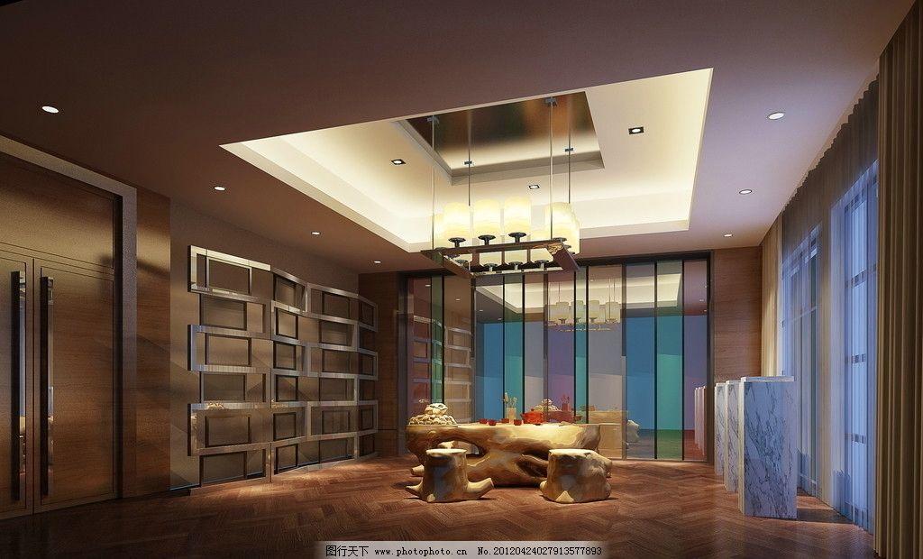 茶室效果图 功夫茶 茶具 中式茶具 根雕 茶桌 双开门 屏风 现代屏风