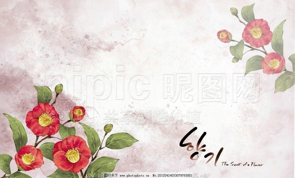 手绘花卉 手绘花朵 手绘鲜花 花卉插画 花插画 山茶花 手绘山茶花