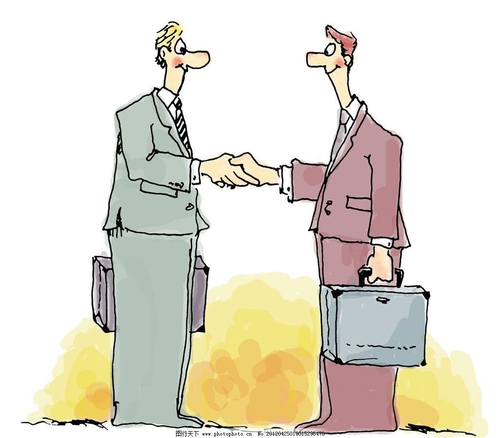 漫画人物 漫画 手绘 职场 握手 绘画书法 文化艺术 设计 300dpi jpg