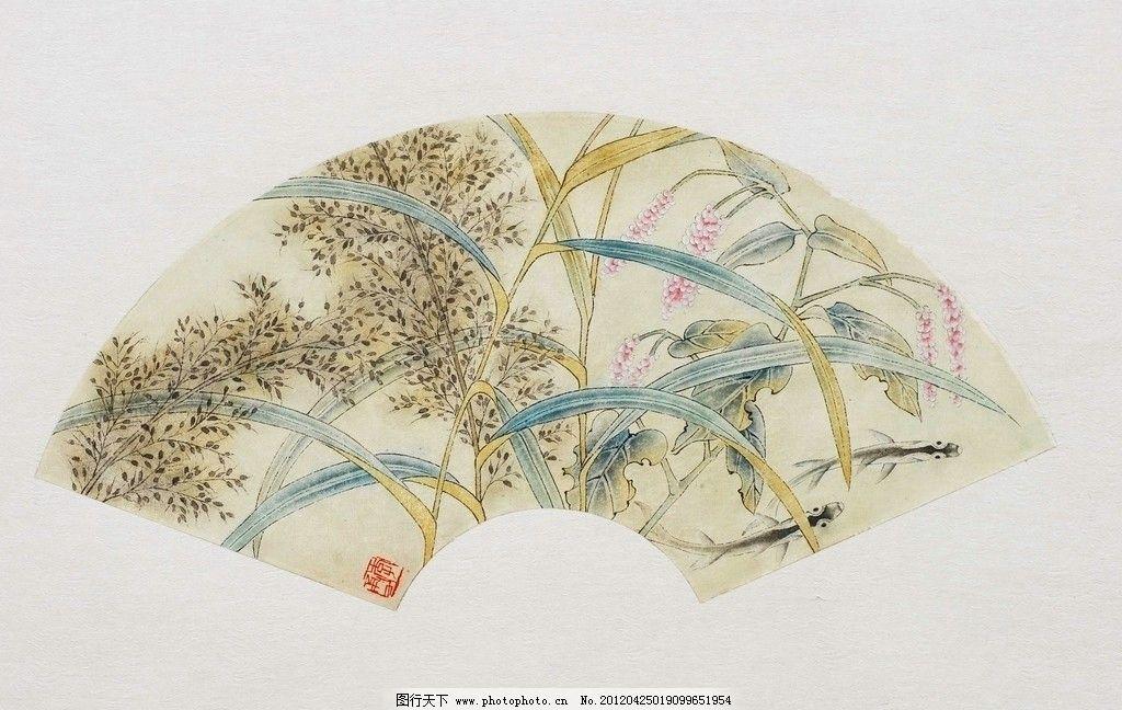 扇形花鸟国画图片