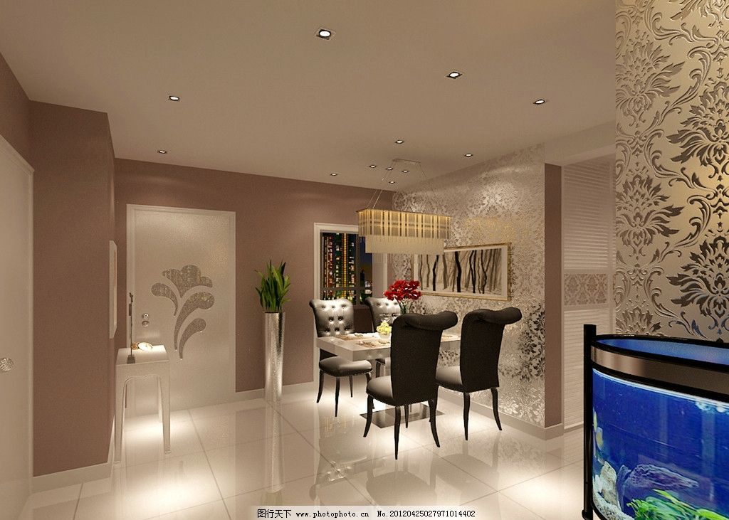 餐厅效果图 欧式家装效果图 现代 简约 过廊 鱼缸 餐桌 昏暗