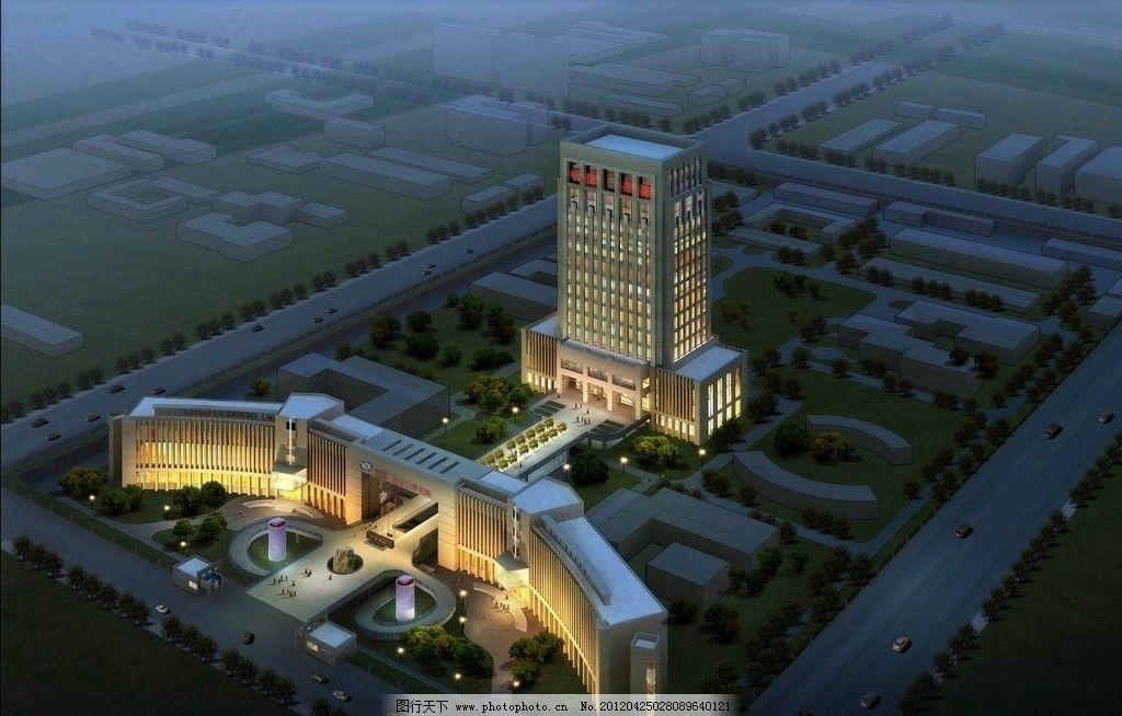 夜景建筑鸟瞰城市规划效果图图片