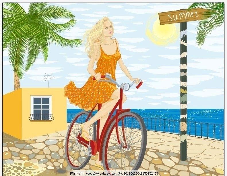 夏日骑自行车的美女图片