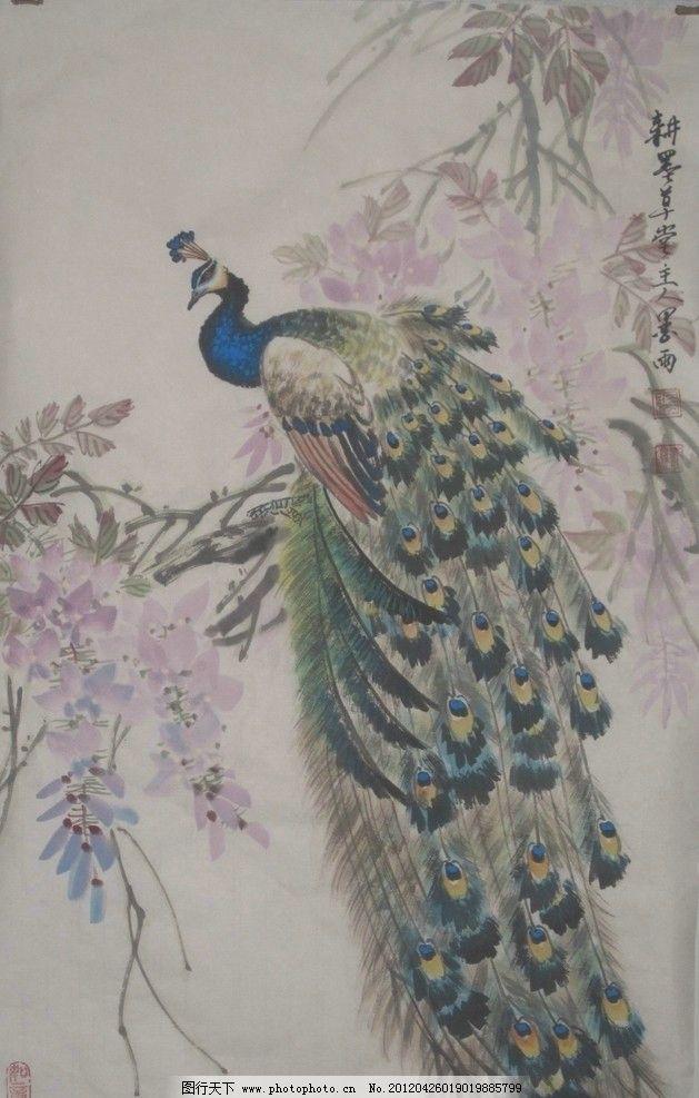 孔雀 国画 中国画 工笔画 生物 绘画书法 文化艺术 设计 国画风景 180