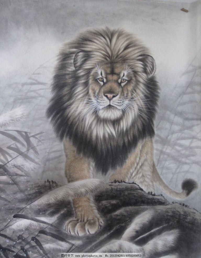 雄狮 露从今夜白 国画 中国画 工笔画 生物 绘画书法 文化艺术