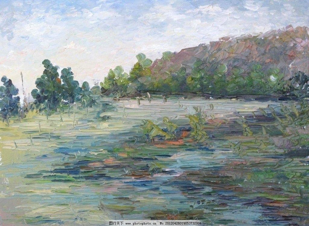 现代具象装饰漆画素材 现代 风景 树木 天空 写实 具象 装饰 漆画