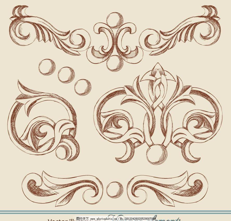 古典欧式花纹花边装饰图片_条纹线条_底纹边框_图行