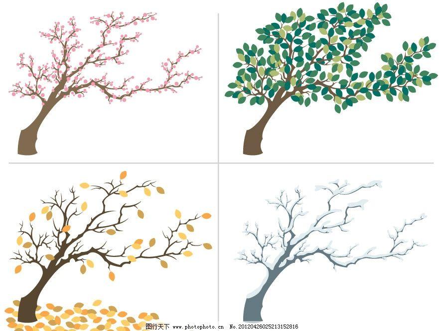 手绘四季树木图片图片