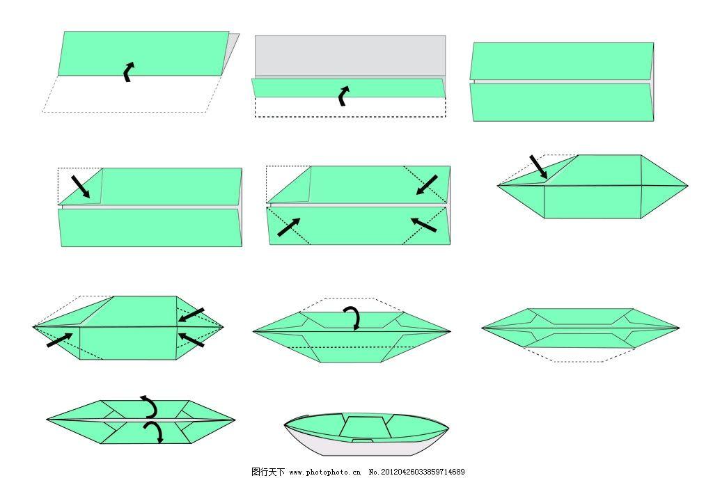 折纸船 步骤图 矢量素材 其他矢量