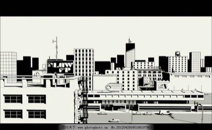 城市黑白线条