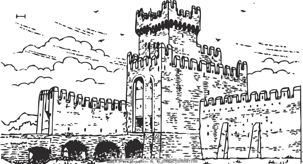 城楼素描 城墙 城楼 素描 线条 底纹 条纹线条 底纹边框 矢量 ai