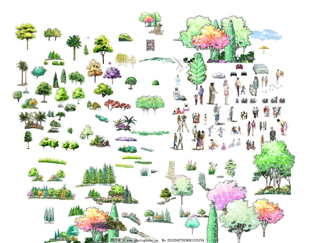 手绘效果图 园林 手绘景观 景观设计 园林设计 公园景观 树木 植物