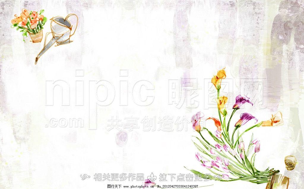 手绘花卉 手绘花朵 手绘鲜花 花卉插画 花插画 手绘卡通花卉 psd分层