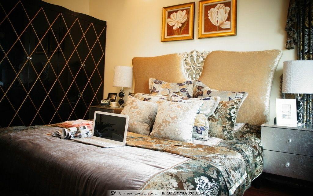 卧室摄影 样板房 欧式 灯饰 欧美风 复古 典雅 高贵 暖色 床单