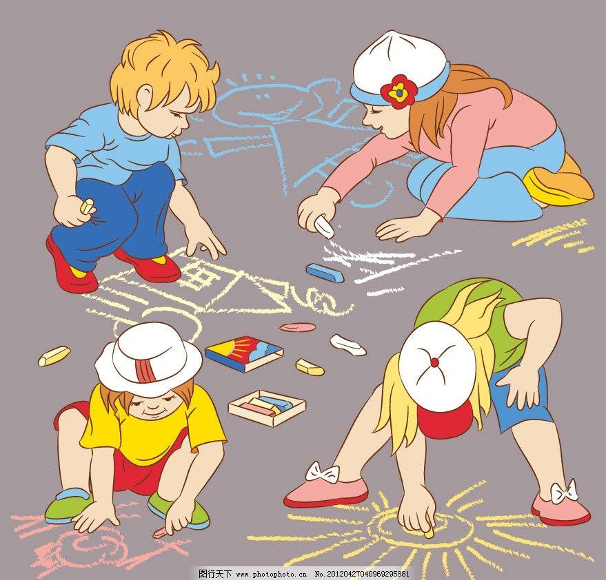 小学生 可爱 绘画 画画 背景 底纹 矢量 儿童主题 儿童幼儿 矢量人物