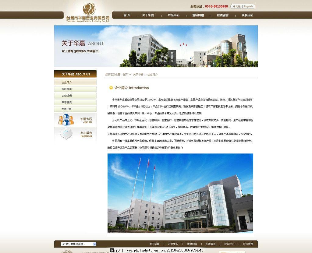 咖啡色网站内页模板图片