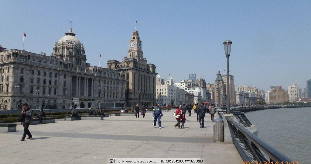 上海外滩 欧式建筑 黄浦江 高楼大厦 上海建筑群 晴天 蓝天 浦发银行