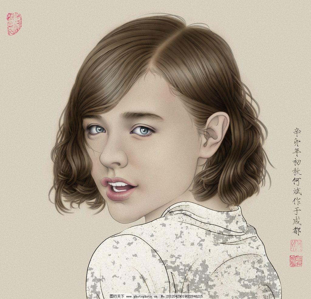 工笔女人 何斌 国画 工笔画 人物画 绘画书法 文化艺术 设计 72dpi jp