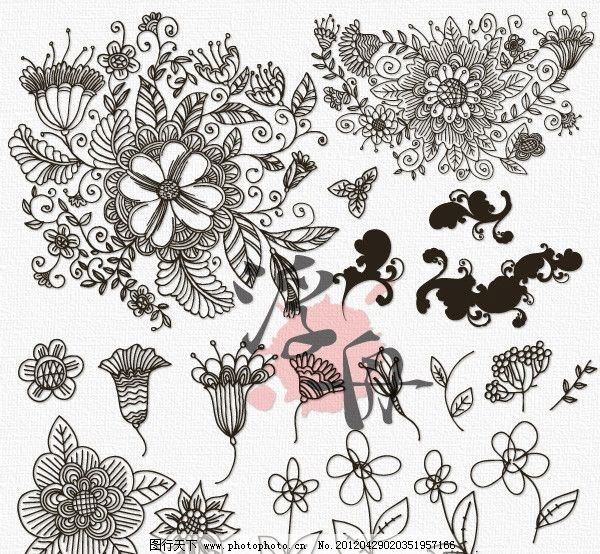 古典线描花卉图片_花边花纹_底纹边框_图行天下图库