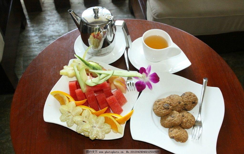 茶点 果盘 小饼干 中国茶 果仁酥 苹果 西瓜 香橙 星桃 下午茶 餐饮图片