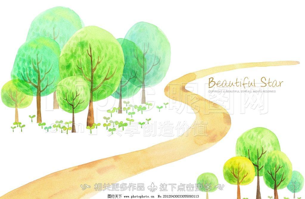 手绘树木 树木插画 树木 绿树绿草 涂鸦 植物插画 psd分层素材 源文件