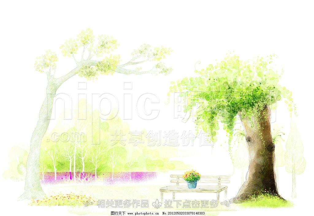 手绘树木 卡通树木 手绘树