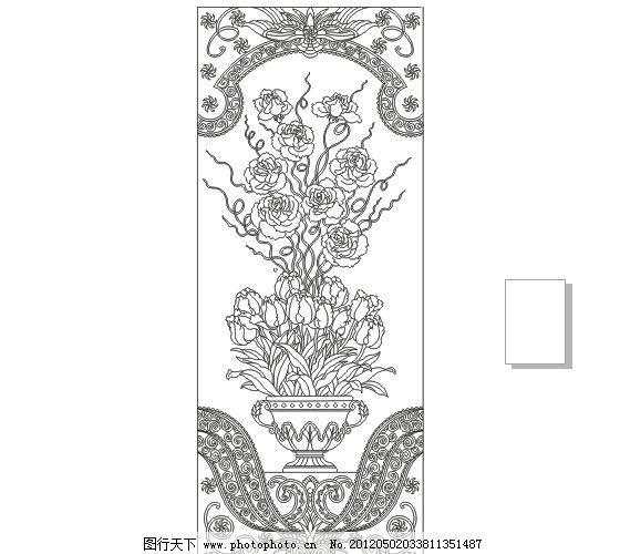 艺术玻璃矢量图 欧式花纹 花纹 白玉兰 玉兰 牡丹花 牡丹 艺术玻璃