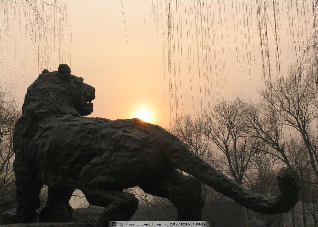 石狮子 北京 动物园 夕阳 雕像 动物 雕塑 建筑园林 摄影 180dpi jpg