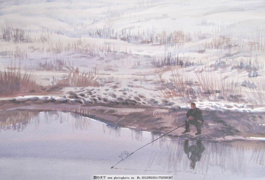 jpg 垂钓 当代艺术 风景 风景画 高考 挂画 河流 绘画 水彩风景设计