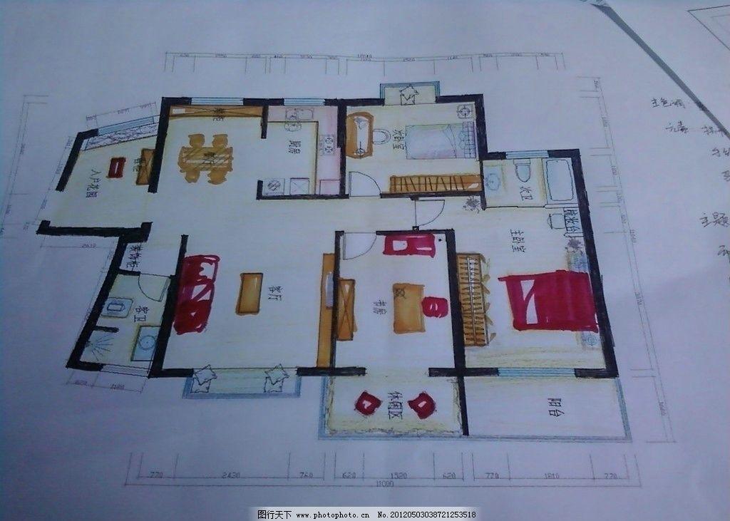 室内设计 手绘 平面图
