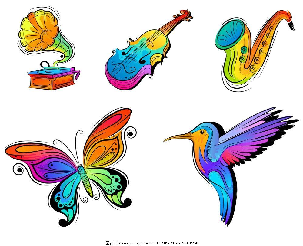 手绘蝴蝶小鸟 音乐器材图片