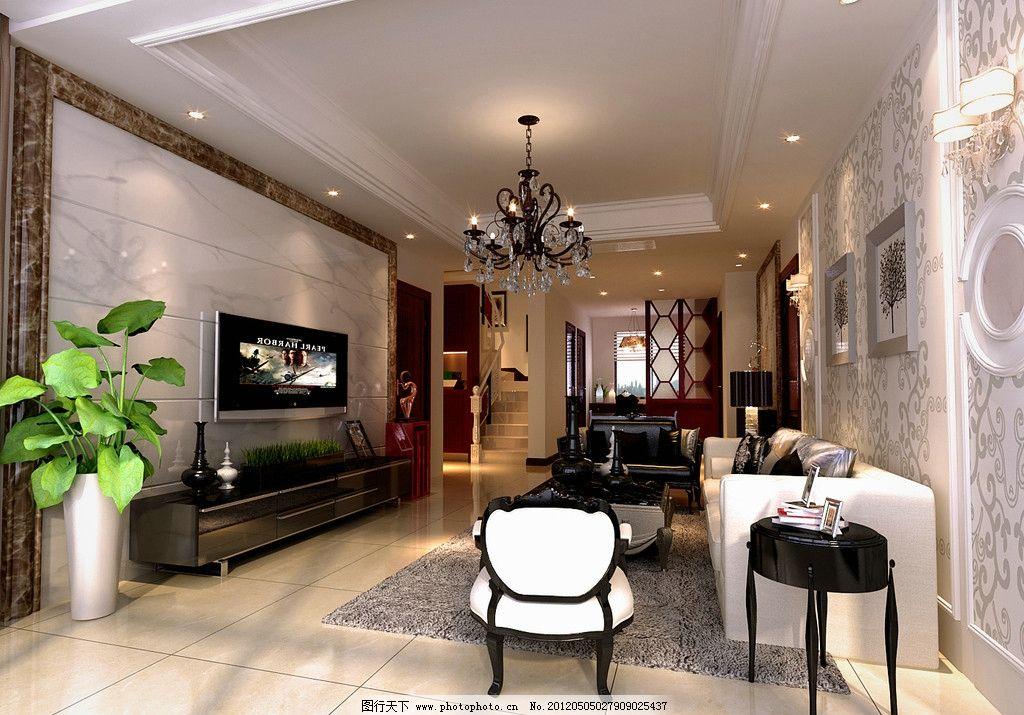 复式楼客厅 复式楼客厅设计 简欧客厅 沙发组合 电视 椅子 室内设计