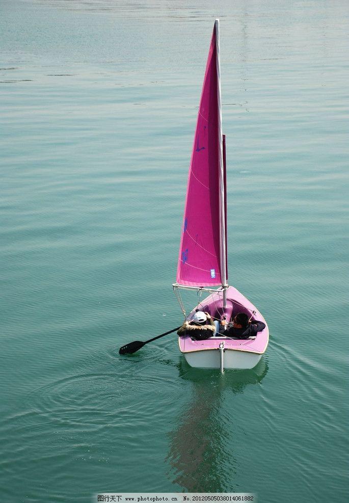 小帆船 大海 帆船 交通工具 现代科技 摄影 300dpi jpg
